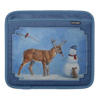 Funny Deer & Christmas Snowman Winter Blue iPad Sleeve