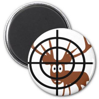 funny deer in crosshair icon magnet