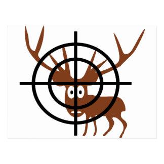 funny deer in crosshair icon postcard