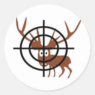 funny deer in crosshair icon round sticker