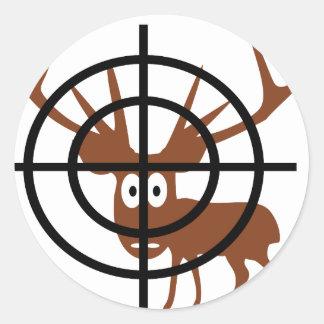 funny deer in crosshair icon sticker