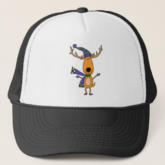Funny Deer in Winter Scarf and Hat