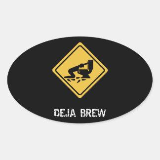 Funny Deja-Brew Oval Sticker