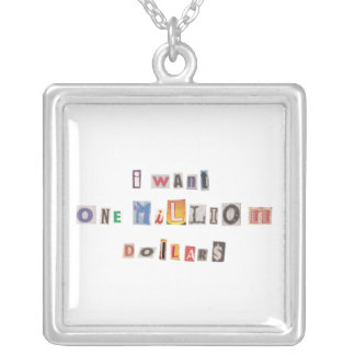 Funny Demand For Money Ransom Note Collage Silver Plated Necklace