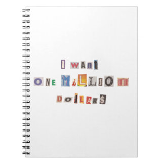 Funny Demand For Money Ransom Note Collage Spiral Notebook