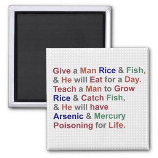 Funny Demotivational Rice Fish Proverb Humor Magnet