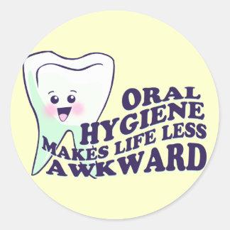 Funny Dental Hygienist Round Stickers