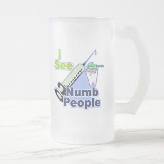 Funny Dentist Hygienist RDH Frosted Glass Beer Mug