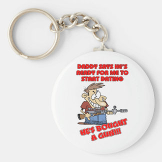 Funny design for father with daughters. keychain