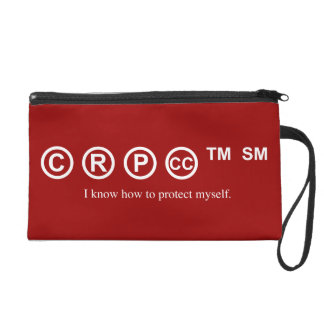 Funny design - I know how to protect myself ©, Wristlet Purse