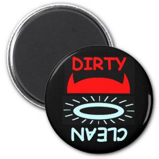 Funny Devil Angel Dirty Clean Round Dishwasher 2 Inch Round Magnet