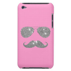 Funny Diamond Mustache With Glasses Barely There Ipod Case at Zazzle