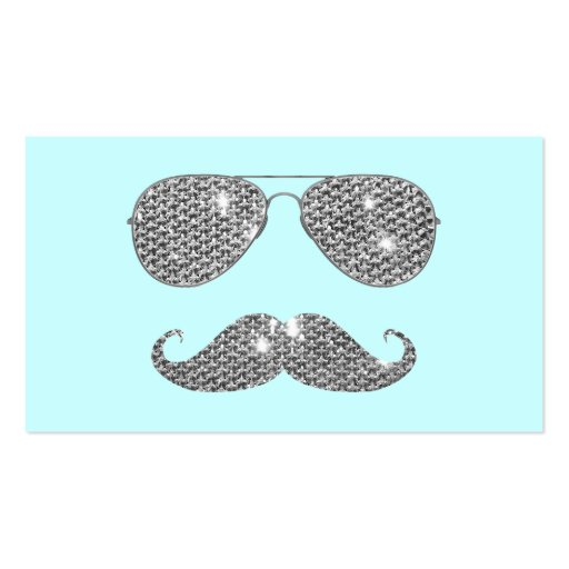Funny Diamond Mustache With Glasses Business Card Template