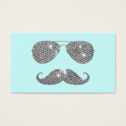 Business Card with Diamond Mustache with Sunglasses design