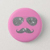 Funny Diamond Mustache With Glasses Button
