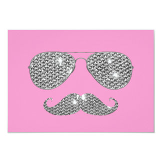 Funny Diamond Mustache With Glasses Card