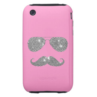 Funny Diamond Mustache With Glasses iPhone 3 Tough Case