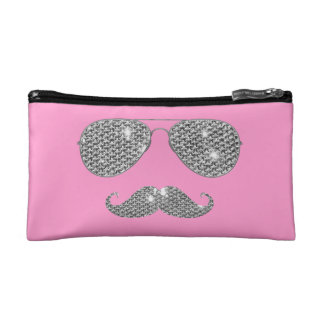 Funny Diamond Mustache With Glasses Cosmetic Bag