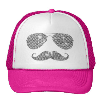Funny Diamond Mustache With Glasses Trucker Hats