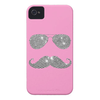 Funny Diamond Mustache With Glasses iPhone 4 Case