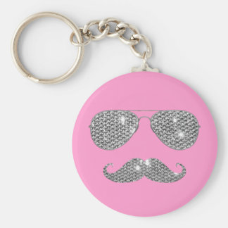 Funny Diamond Mustache With Glasses Key Chain