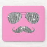 Funny Diamond Mustache With Glasses Mouse Pad