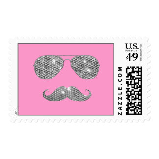 Funny Diamond Mustache With Glasses Postage Stamp