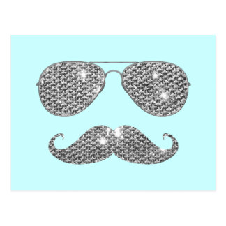 Funny Diamond Mustache With Glasses Postcard