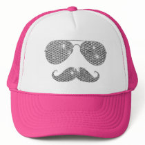 Funny Diamond Mustache With Glasses Trucker Hat