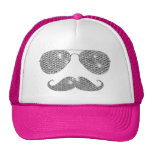 Funny Diamond Mustache With Glasses Trucker Hat