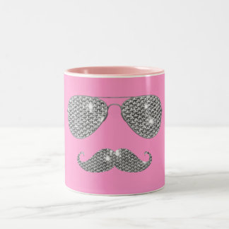 Funny Diamond Mustache With Glasses Two-Tone Coffee Mug