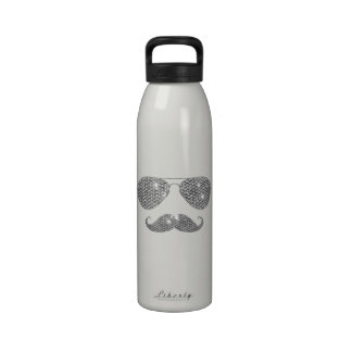 Funny Diamond Mustache With Glasses Reusable Water Bottles