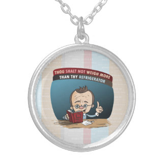 Funny Diet Losing Weight Silver Plated Necklace