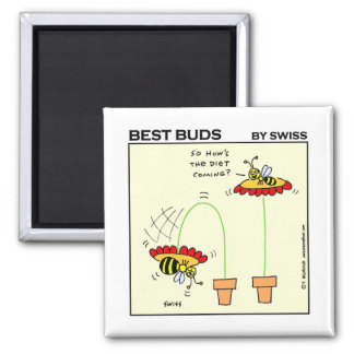 Funny Dieting Bee Cartoon Gardening Fridge 2 Inch Square Magnet