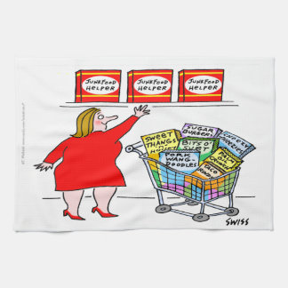 Funny Dieting Cartoon Kitchen Towel
