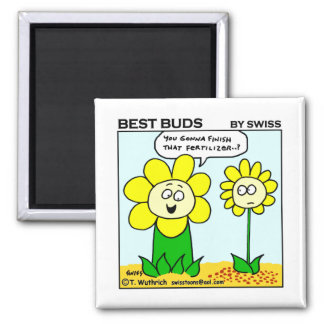 Funny Dieting Flower Best Buds Garden Cartoon 2 Inch Square Magnet