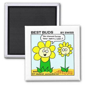 Funny Dieting Flower Best Buds Garden Cartoon 2 Inch Square Magnet