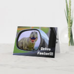 """Funny Dinosaur Aging Birthday Card<br><div class=""""desc"""">So you think birthdays are something to be afraid of do you? Try looking in your car"""