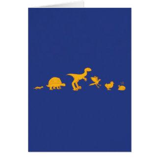 Funny Dinosaur and Chicken Evolution Greeting Card
