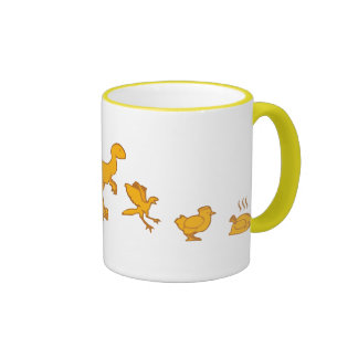 Funny Dinosaur and Chicken Evolution Ringer Coffee Mug