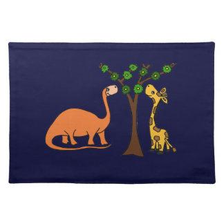 Funny Dinosaur and Giraffe Cartoon Cloth Placemat