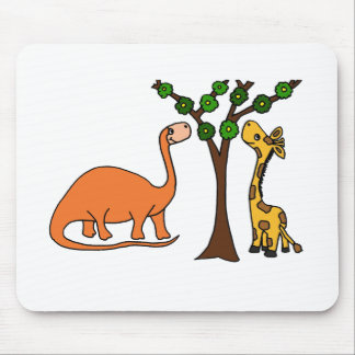 Funny Dinosaur and Giraffe Cartoon Mouse Pad