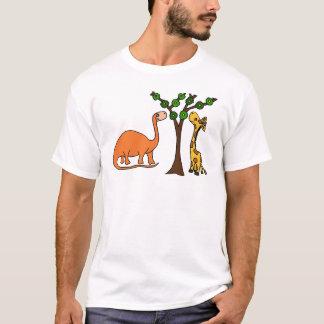 Funny Dinosaur and Giraffe Cartoon T-Shirt