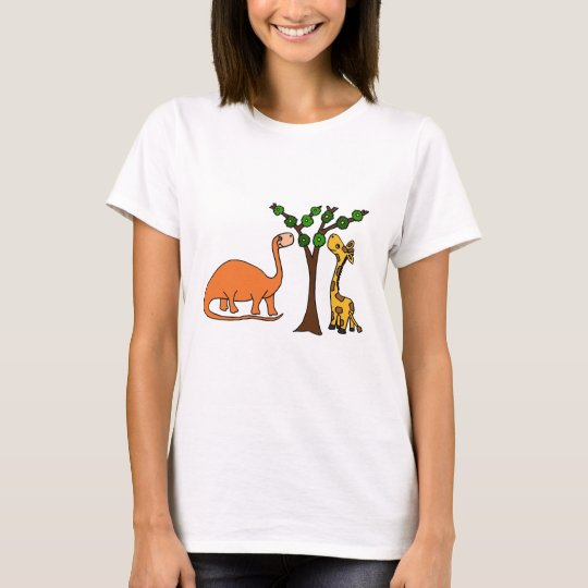 Funny Dinosaur and Giraffe Cartoon T-Shirt