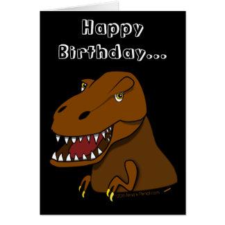 Funny Dinosaur Birthday Cartoon Tyrranosaurus Rex Greeting Card
