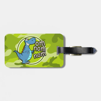 Funny Dinosaur bright green camo camouflage Bag Tag
