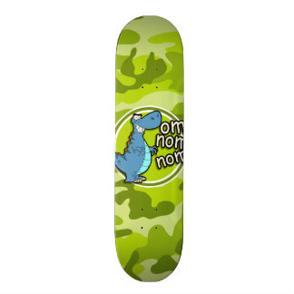 Funny Dinosaur; bright green camo, camouflage Skateboard Deck
