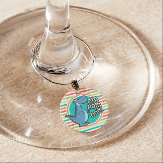 Funny Dinosaur; Bright Rainbow Stripes Wine Glass Charm