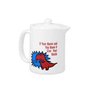 Funny Dinosaur Can't Clap Teapot