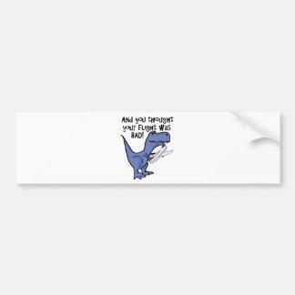 Funny Dinosaur Eating Airplane Cartoon Bumper Sticker